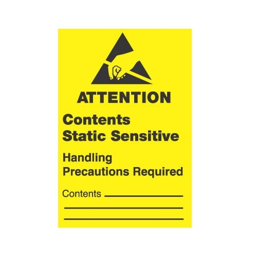 """1 x 1-1/2,""""Attention Contents Static Sensitive Handling Precautions Required""""-0"""